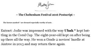 Extract of Marten Julian's Cheltenham Postscript